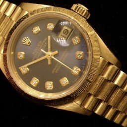 Ladies Rolex 18K Yellow Gold Datejust President Blue Diamond 69278