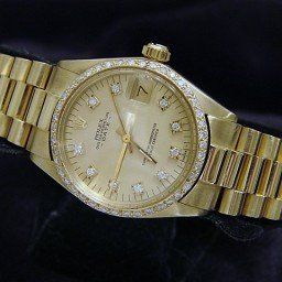 Pre Owned Mid-Size Rolex Yellow Gold Date President Champagne Diamond 6827 (SKU 3376698M)