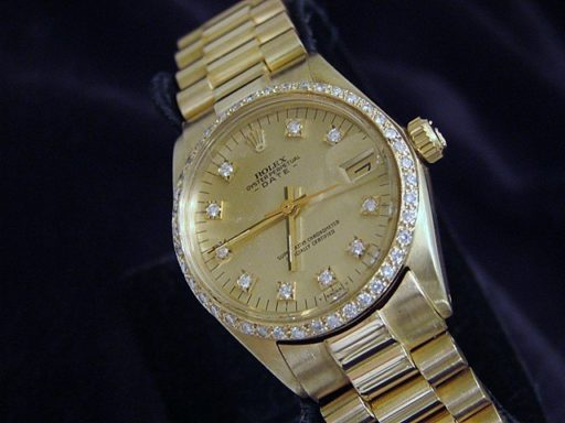 Rolex Yellow Gold Date President Diamond 6827 Champagne-5