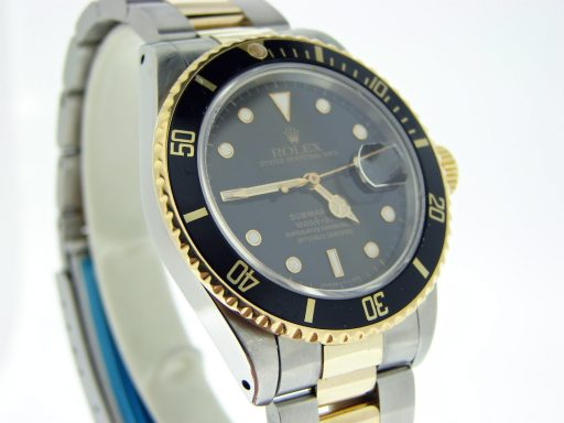 Rolex Two-Tone Submariner 16803 Black -4