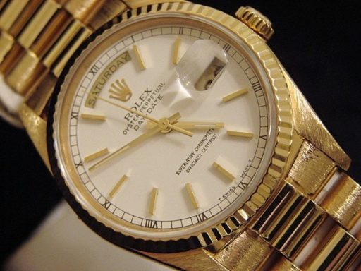 Rolex 18K Yellow Gold Day-Date President 18238 White -4
