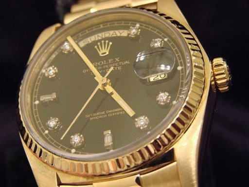 Rolex 18K Yellow Gold Day-Date President 18038 Black Diamond-4