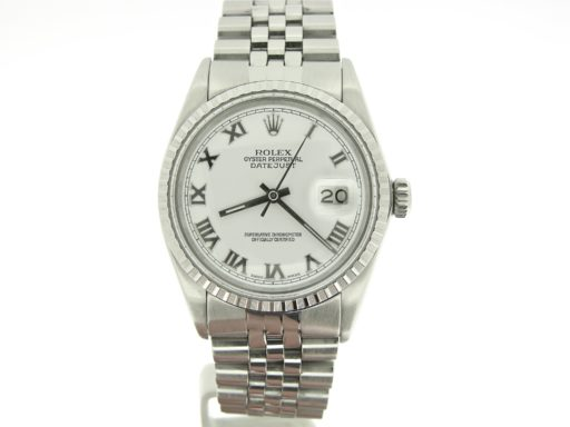 Rolex Stainless Steel Datejust 16030 White Roman-6