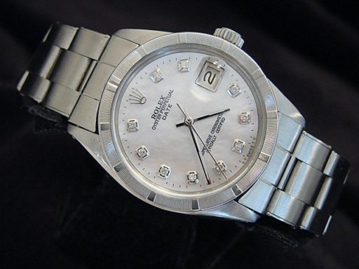 Rolex Stainless Steel Date 1501 White MOP Diamond-4