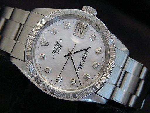 Rolex Stainless Steel Date 1501 White MOP Diamond-3