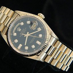 Mens Rolex 18K Gold Day-Date President Black Diamond 18038