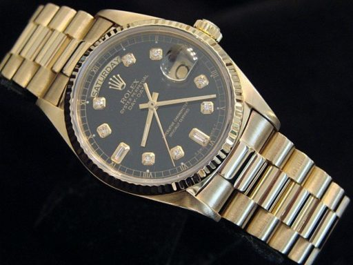 Rolex 18K Yellow Gold Day-Date President 18038 Black Diamond-5