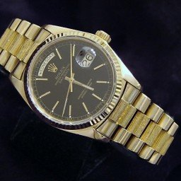 Mens Rolex 18K Gold Day-Date President Black  18038