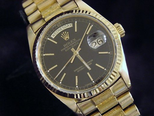 Rolex 18K Yellow Gold Day-Date President 18038 Black -4