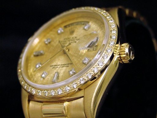 Rolex 18K Yellow Gold Day-Date President 18038 Champagne Diamond-4