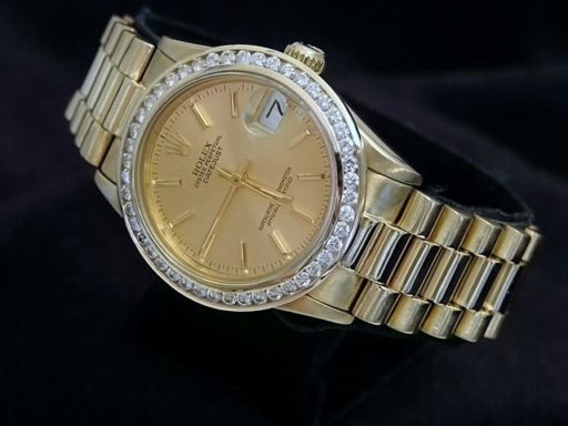Rolex Yellow Gold Datejust President Diamond 68278 Champagne-2