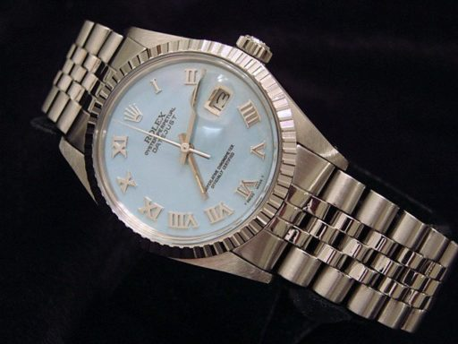 Rolex Stainless Steel Datejust 16030 Blue MOP Roman-6
