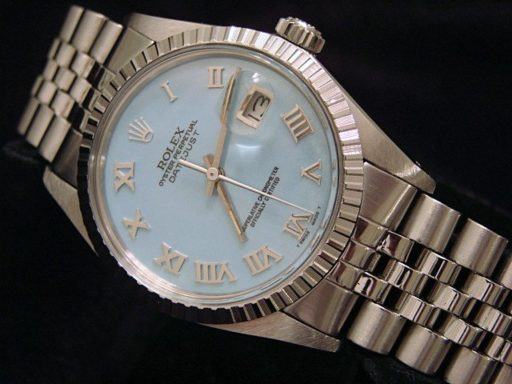Rolex Stainless Steel Datejust 16030 Blue MOP Roman-5