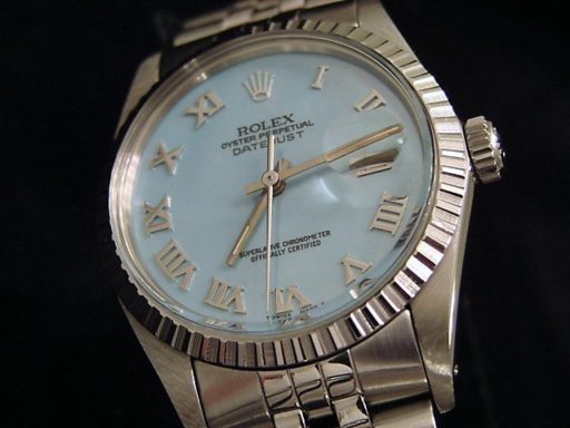 Rolex Stainless Steel Datejust 16030 Blue MOP Roman-4