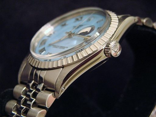 Rolex Stainless Steel Datejust 16030 Blue MOP Roman-3