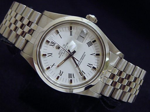 Rolex Stainless Steel Date 15000 White Roman-5