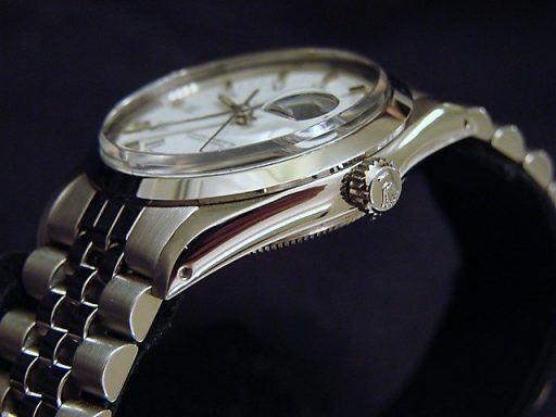 Rolex Stainless Steel Date 15000 White Roman-3