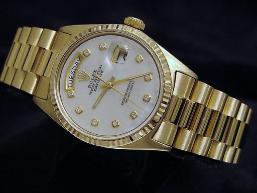 Rolex 18K Yellow Gold Day-Date President 1803 White MOP Diamond-5