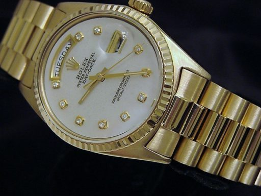 Rolex 18K Yellow Gold Day-Date President 1803 White MOP Diamond-4