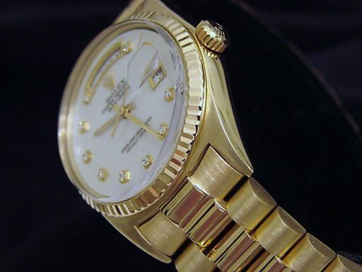 Rolex 18K Yellow Gold Day-Date President 1803 White MOP Diamond-3