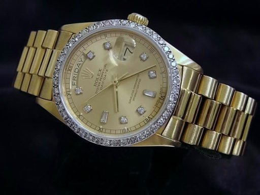 Rolex 18K Yellow Gold Day-Date President 18038 Champagne Diamond-8