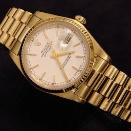 Pre Owned Mens Rolex Yellow Gold Datejust with a White Dial 16018