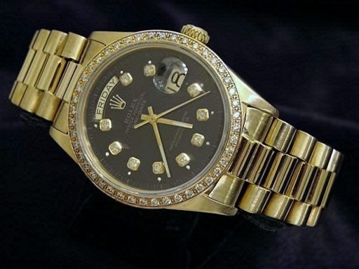 Rolex 18K Yellow Gold Day-Date President 18038 Black Diamond-6