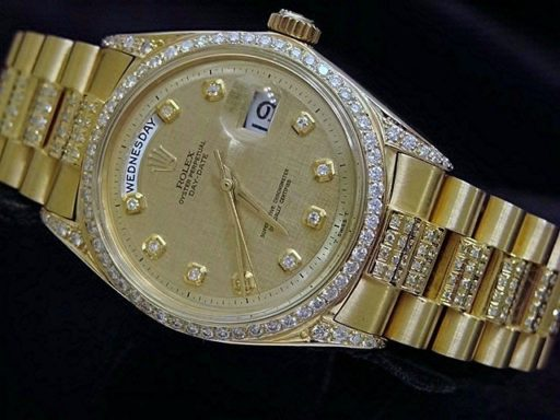 Rolex 18K Yellow Gold Day-Date President 1803 Full Diamond-6