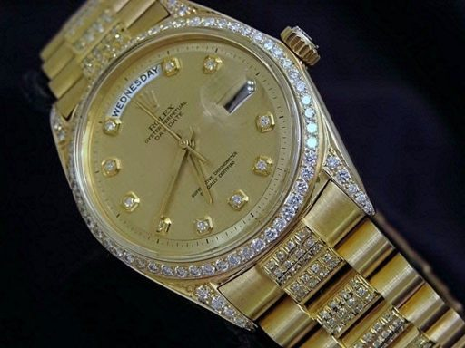 Rolex 18K Yellow Gold Day-Date President 1803 Full Diamond-4