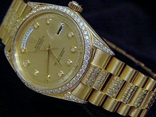 Rolex 18K Yellow Gold Day-Date President 1803 Full Diamond-3