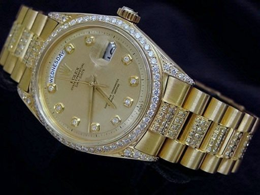 Rolex 18K Yellow Gold Day-Date President 1803 Full Diamond-2