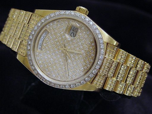 Rolex 18K Yellow Gold Day-Date President 18038 Full Diamond-8