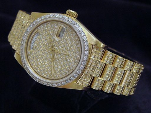 Rolex 18K Yellow Gold Day-Date President 18038 Full Diamond-7