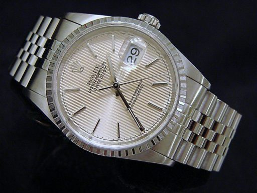 Rolex Stainless Steel Datejust 16220 Silver Tapestry -2