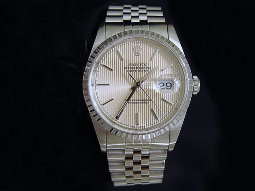 Rolex Stainless Steel Datejust 16220 Silver Tapestry -3