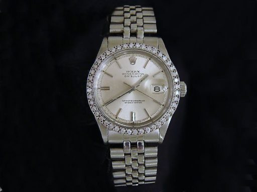 Rolex Stainless Steel Datejust 1603 Silver  Diamond-2