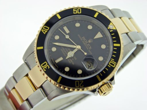 Rolex Two-Tone Submariner 16613T Black -6