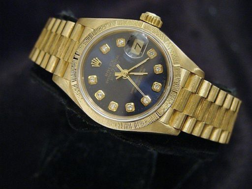Rolex Yellow Gold Datejust President Diamond 69278 Blue-2