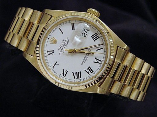 Rolex 18K Yellow Gold Datejust 16018 White Roman-2