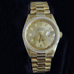 Pre Owned Mens Rolex Yellow Gold Datejust Diamond Champagne 1601