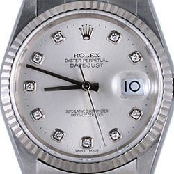 Mens Rolex Stainless Steel Datejust Silver Diamond 16014 (SKU DJ571111MT)