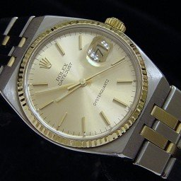 Pre Owned Mens Rolex Two-Tone Oysterquartz Datejust Gold Champagne 17013 (SKU QDJ65M)