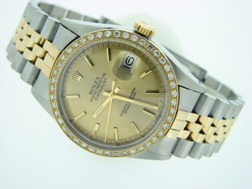 Rolex Two-Tone Datejust 1601 Diamond Champagne-4