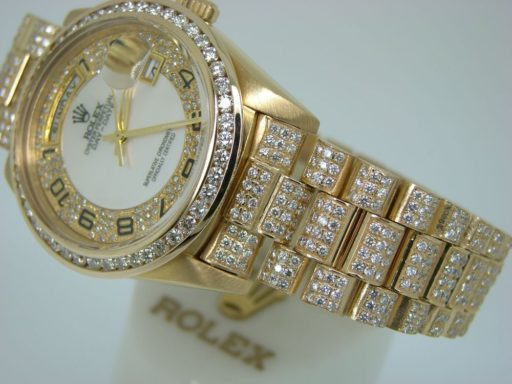 Rolex 18K Yellow Gold Day-Date President 18238 Full Diamond-4
