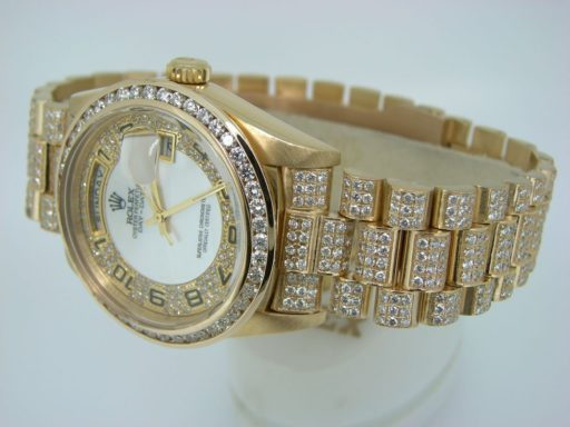Rolex 18K Yellow Gold Day-Date President 18238 Full Diamond-1