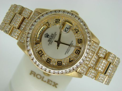 Rolex 18K Yellow Gold Day-Date President 18238 Full Diamond-6