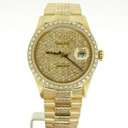Pre Owned Mens Rolex Yellow Gold Datejust with a Gold Dial 16238