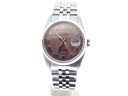 Rolex Stainless Steel Datejust 16234 Salmon Roman-7