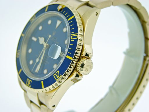 Rolex 18K Yellow Gold Submariner 16618 Blue -3