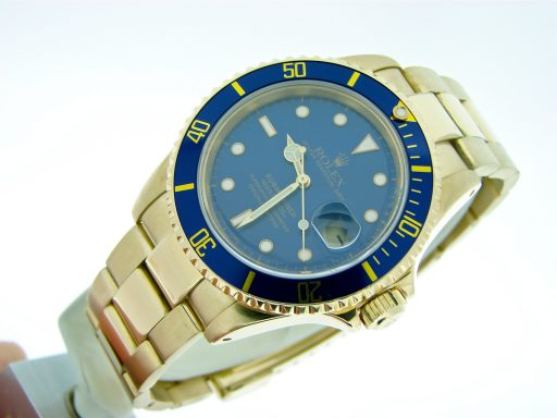Rolex 18K Yellow Gold Submariner 16618 Blue -2